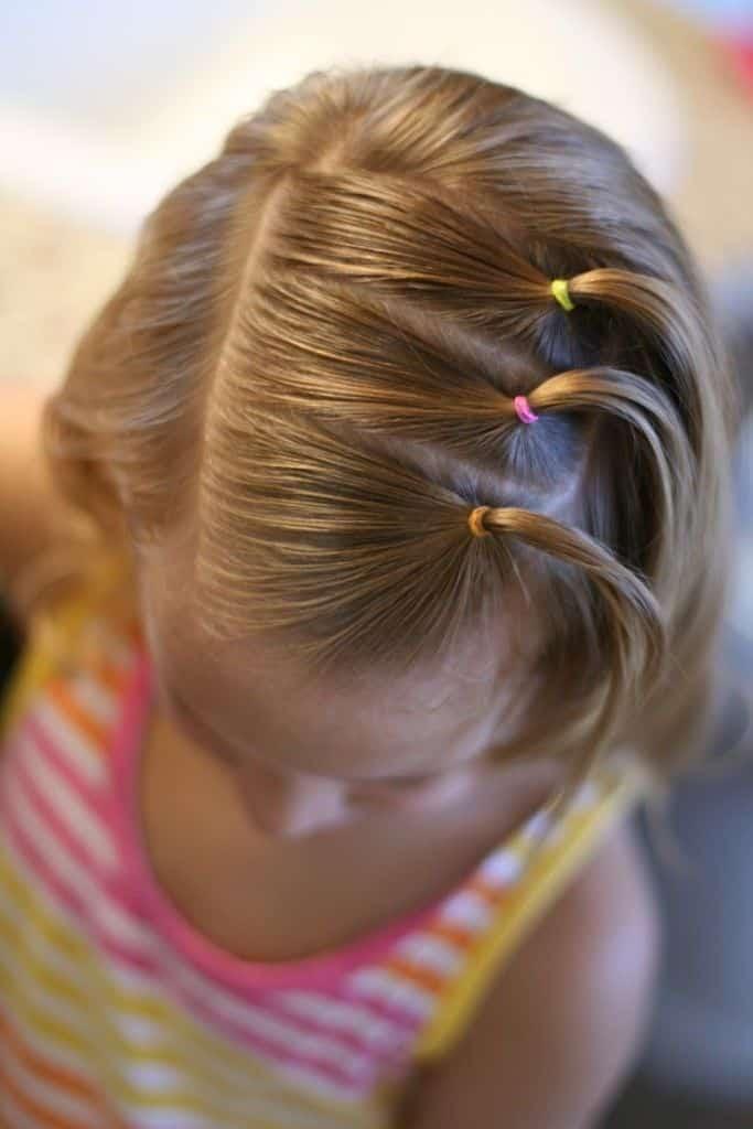 3 gomitas de pelo de colores para tres coletas pequenas
