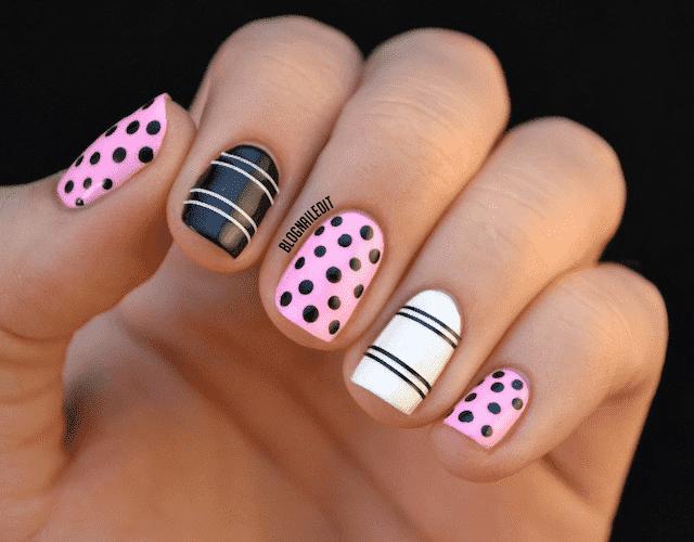 modelos de uñas con puntos y rayas