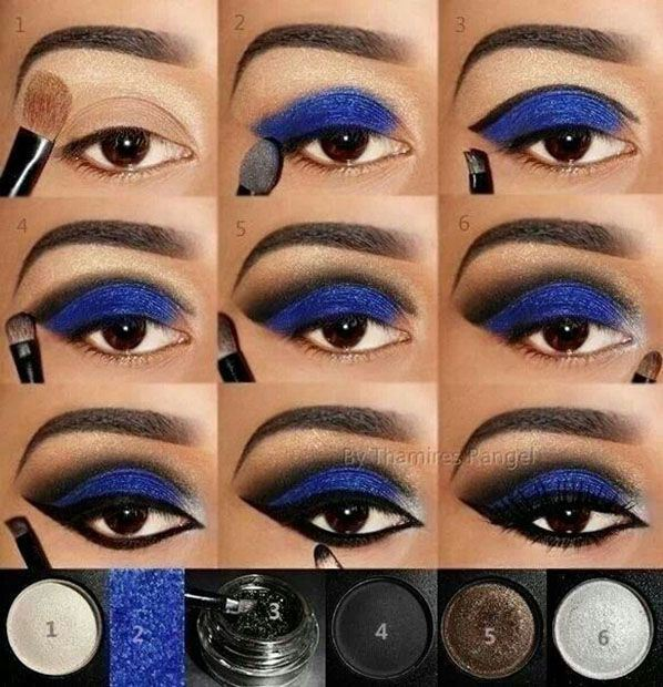 Maquillaje de noche tono azul