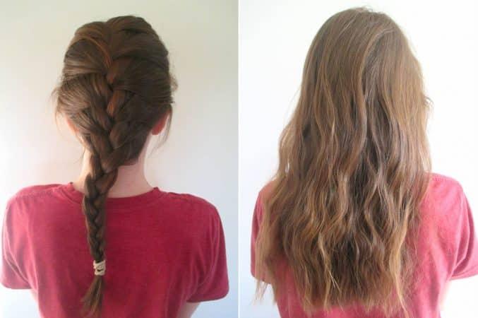 cabello ondulado con trenzas