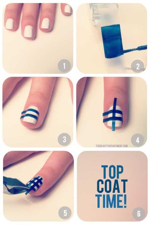 diseño de uñas blancas con cintas azules