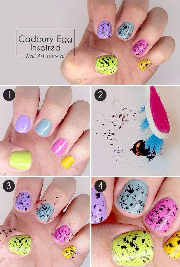 diseño de uñas de colores salpicadas