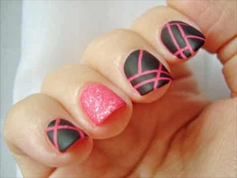 diseños-uñas-negro-rosa