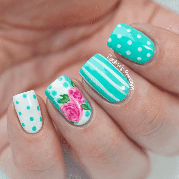 diseños de uñas con flores puntos y rayas