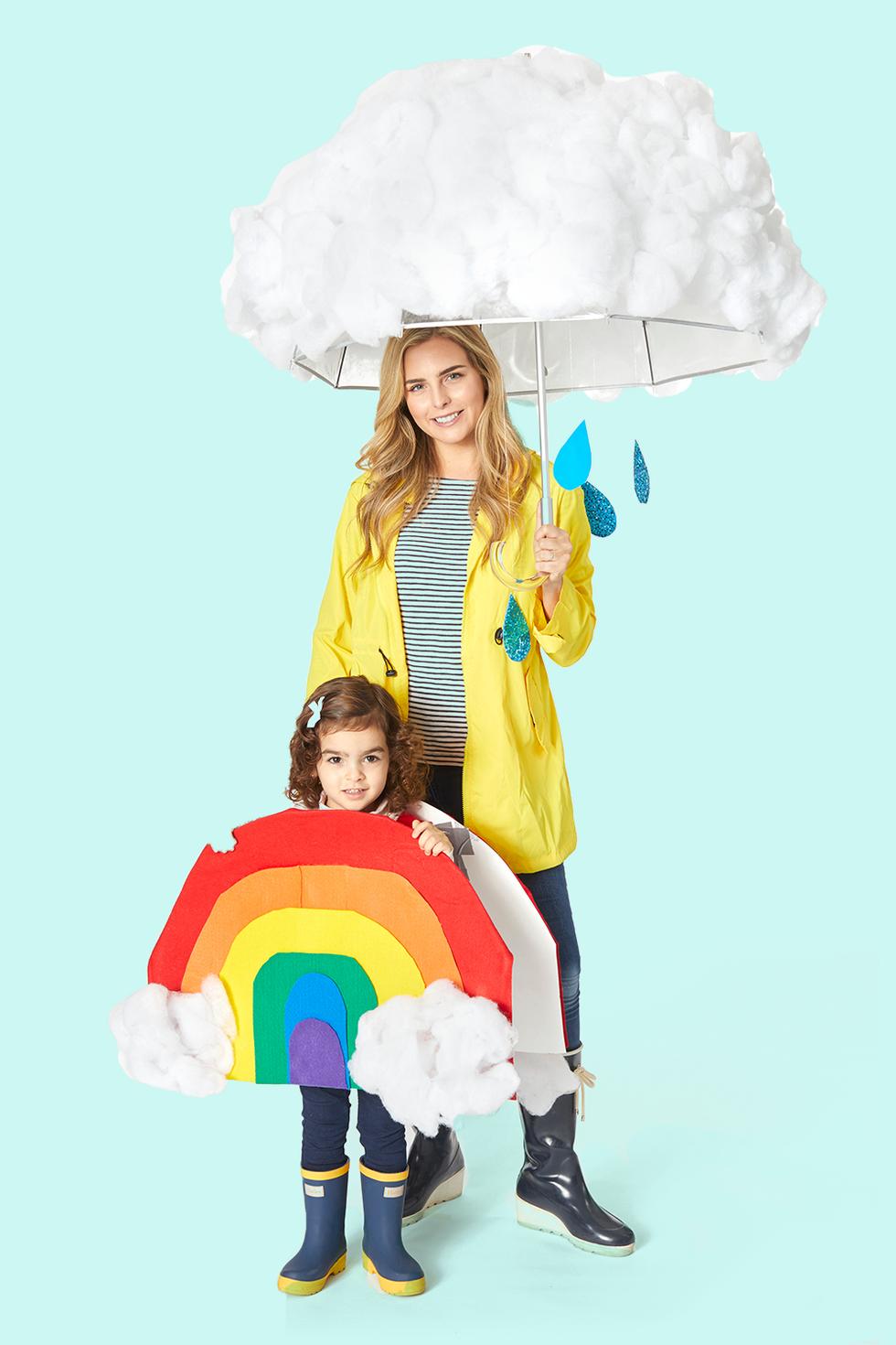 disfraz de arco iris y lluvia