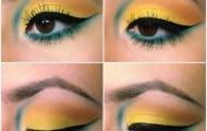 maquillaje-ojos-rasgados-amarillo-y-azul