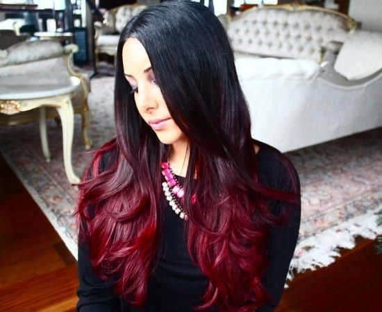 mechas californianas ombre rojas