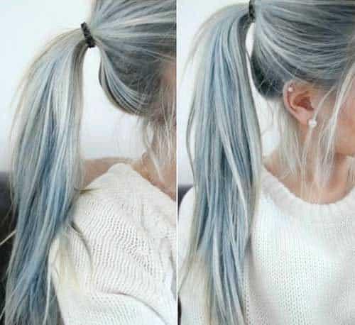 mechas platinadas en cabello castano