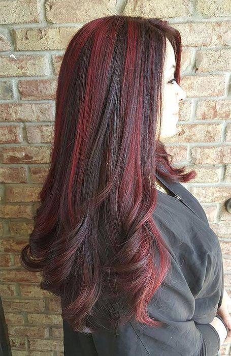 mechas rojas para cabello largo