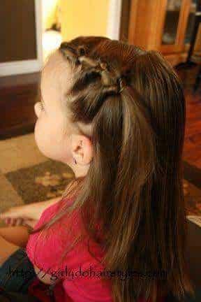 peinado media cola caballo nina