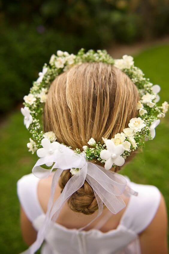 peinado primera comunion flores recogido bajo
