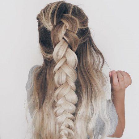peinados con ondas maxi trenza