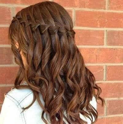 peinados con ondas trenzas cascada