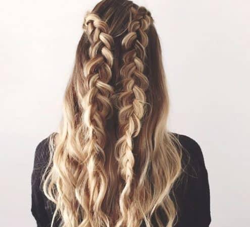 peinados con ondas trenzas dobles