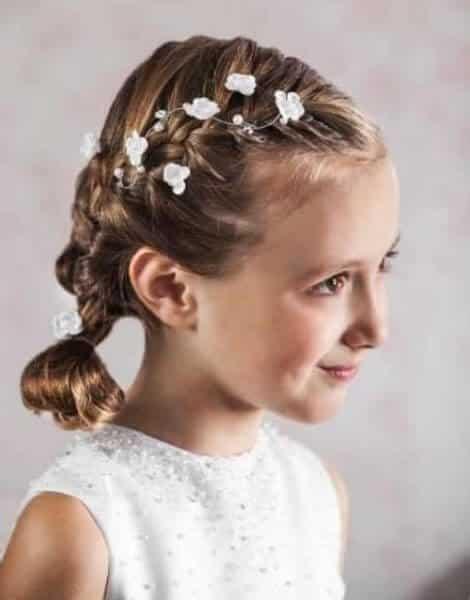 peinados primera comunion coleta baja  para niñas