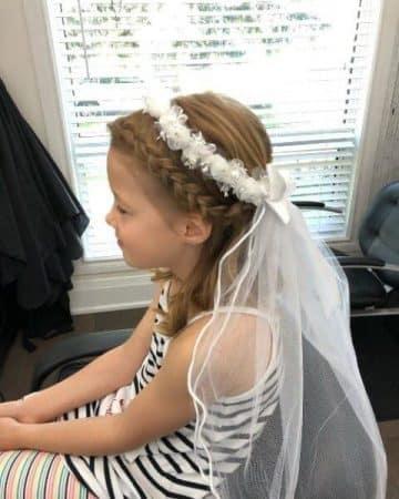 peinados primera comunion con velo trenzas