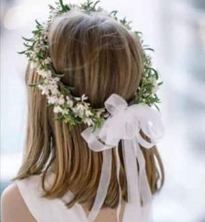 peinados primera comunion pelo corto flores 2