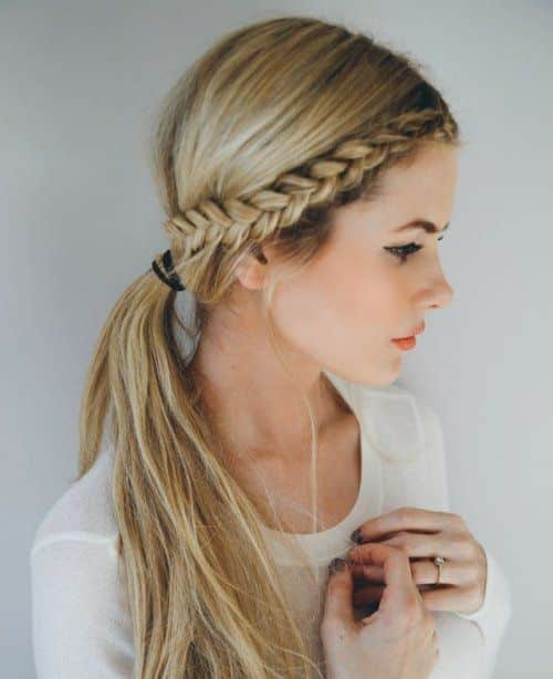 Side braid with low ponytail