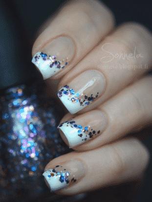 uñas francesas con brillo