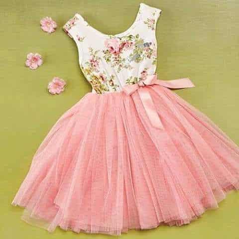 vestido para ninas rosa mono