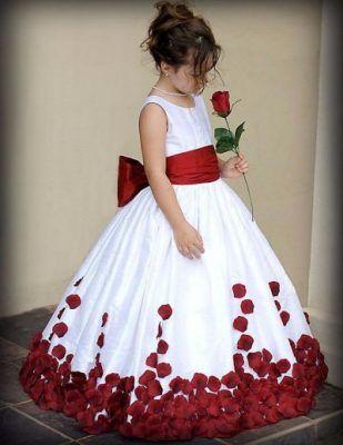 vestidos para ninas rosas rojo lazo