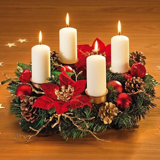 corona adviento velas blancas