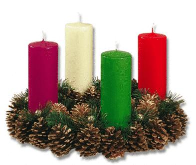 corona adviento velas colores pinas