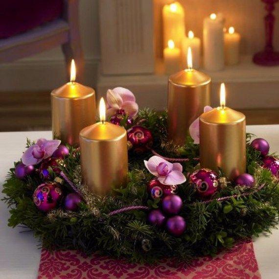corona adviento velas doradas