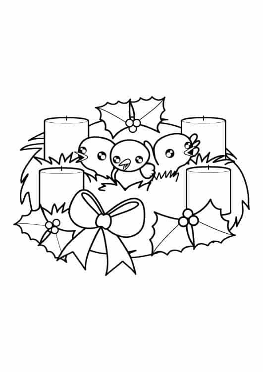 corona de adviento dibujo para dibujar e imprimir