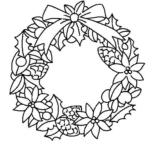 corona de flores navidena colorear