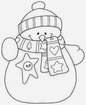 dibujo navidad tela muneco nieve