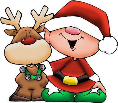 dibujos de navidad con color reno y santa