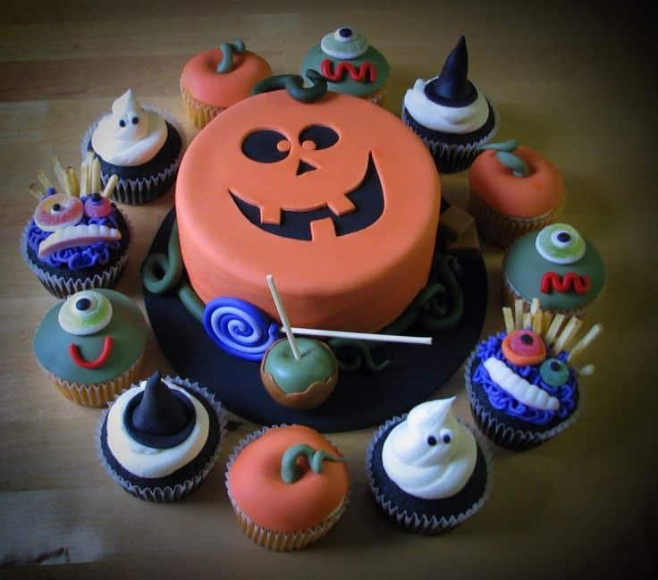 torta y cupcake halloween