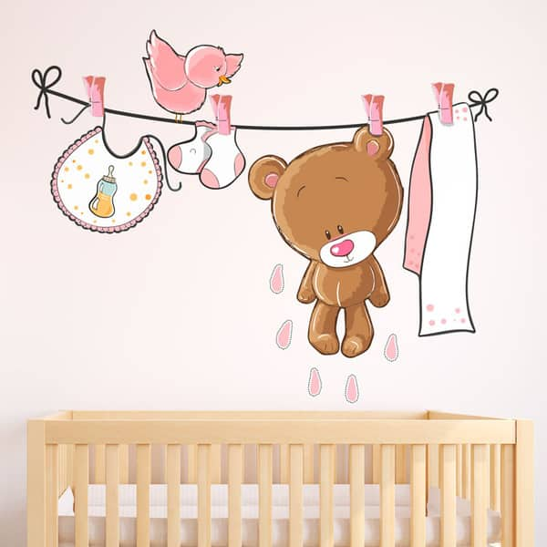 vinilos-infantiles-oso-en-el-tendedero-rosa