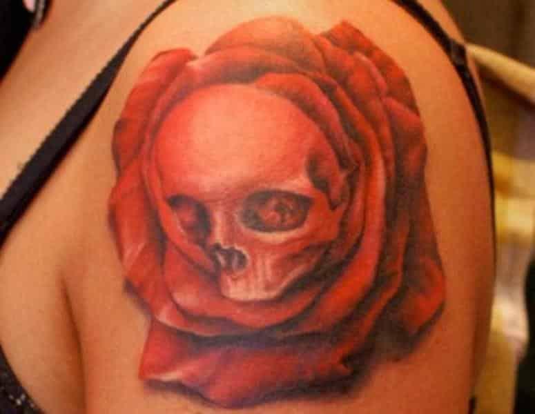 Tatuajes de Rosa con Calavera