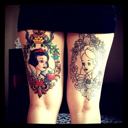 tattoo on both legs with disney princesses