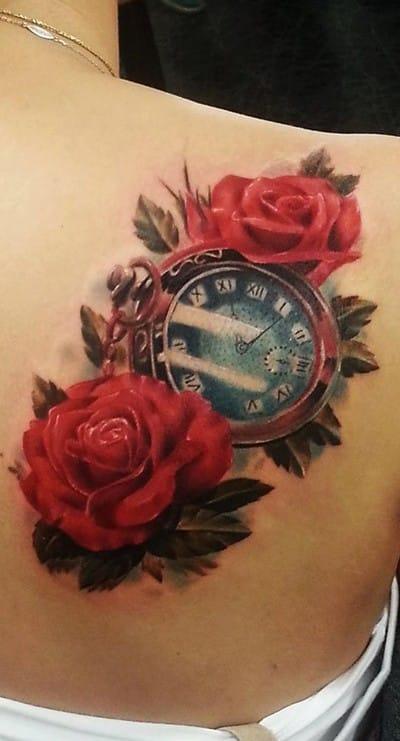 Tatuajes de Rosas con Reloj