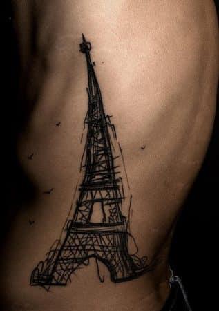 tatuajes en las costillas torre eiffel