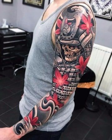 tatuajes japoneses en el brazo hombres samurais