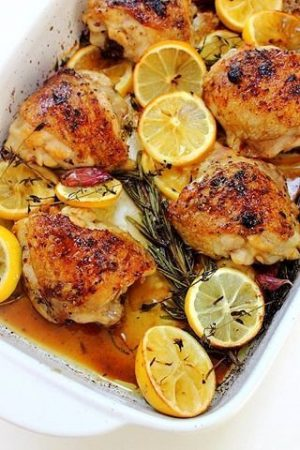 pollo al horno con limon papas